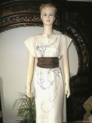 Museum Quality! Rare Vintage 50s SHAHEEN Cream Signed Handpaint CAFTAN DRESS M/L