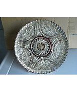 Cake Plate 12 Inch Silver Red Goofus Glass 40s  - $30.00