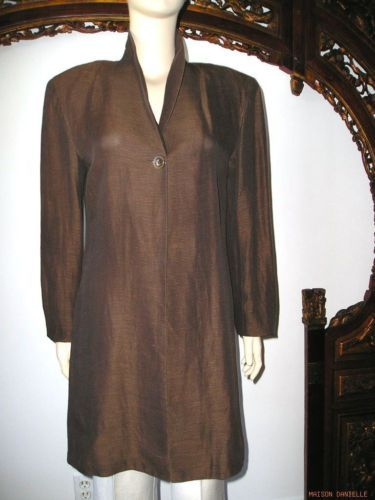 UNGARO Paris Deep Brown SILK LINEN Long Blazer Jacket 8