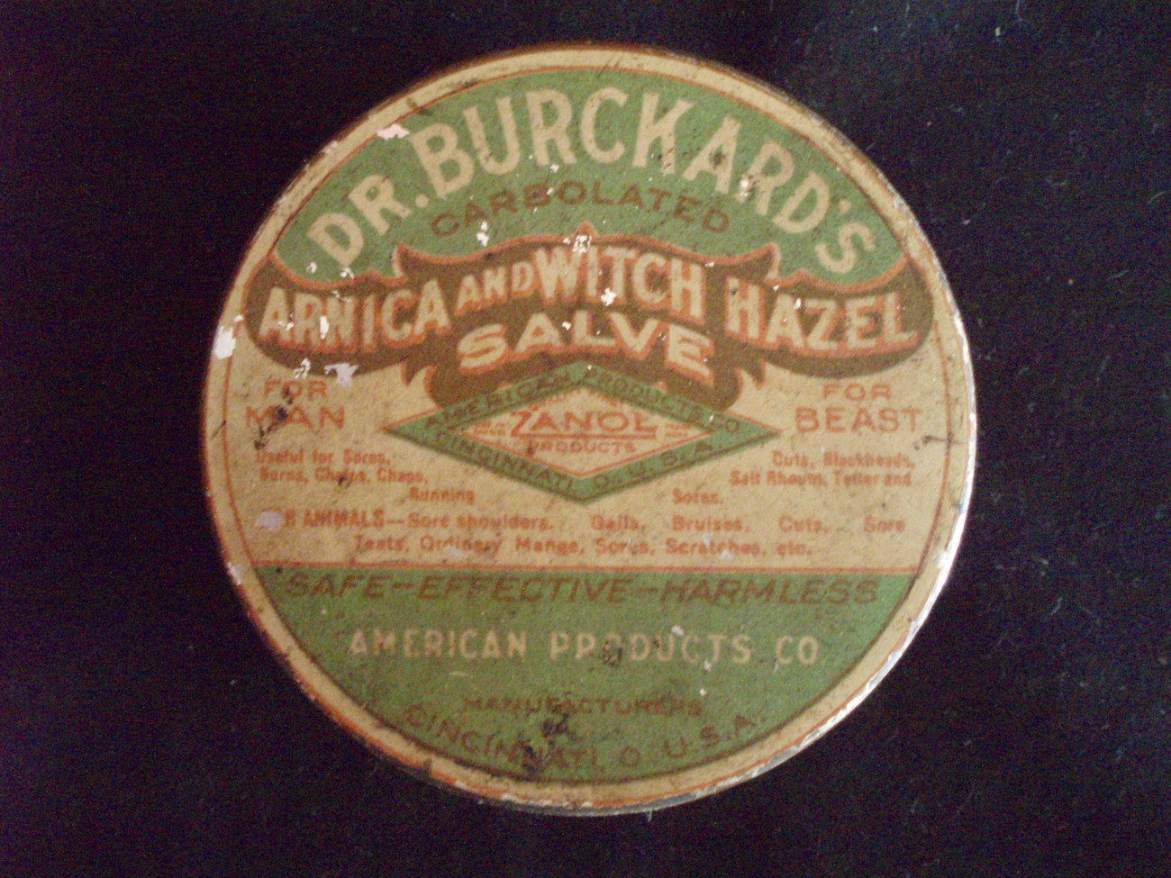 Dr. Burkards witch hazel salve vintage tin  Zanol Co.