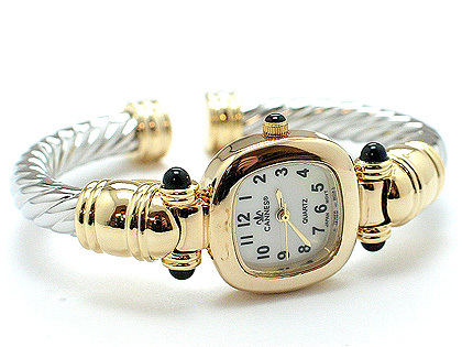 DESIGNER INSPIRED 2 TONE TWISTED CABLE BANGLE CUFF WATCH