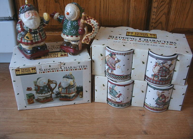 Set of 10 DEBBIE MUMM Sledding Characters Mugs Sugar Creamer Santa Snowman Lot