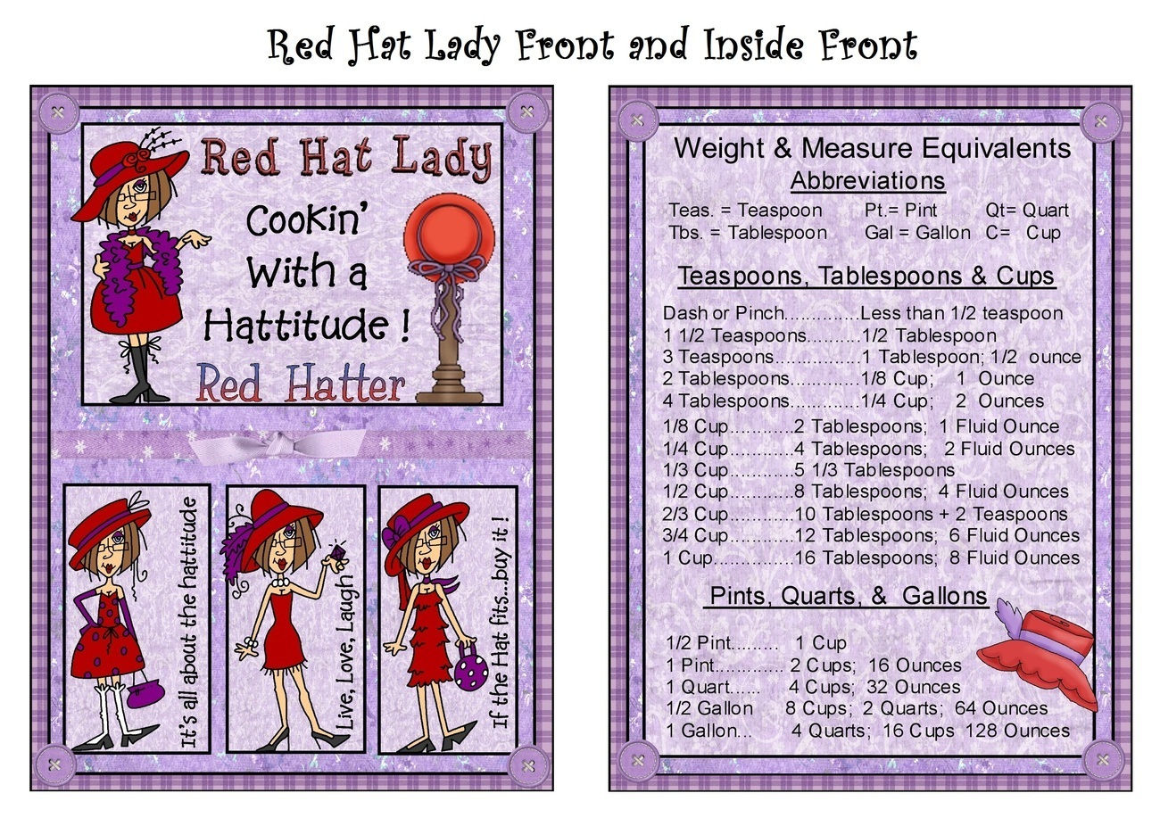 Red Hat Ladies Handmade Recipe Album Collection 4x6