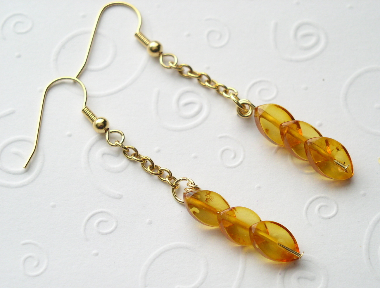 Cutest Honey Natural Baltic Amber Gold Plated Leaves Danglin