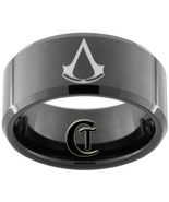 Tungsten Ring 10mm Black Beveled Assassins Cree... - $49.00