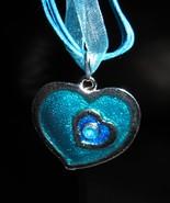 NECKLACE & PENDANT AQUA BLUE DOUBLE HEART GEMST... - $8.99