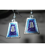 EARRINGS BLUE BELL SHAPE DESIGN GEMSTONE #460  - $8.99