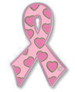 Breast Cancer Awareness Pink Ribbon Hearts Lape... - $10.97