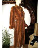 New Vintage 70s Revival *ARCHA* Paris ELEGANT Animal Print Cowlneck DRESS M/L