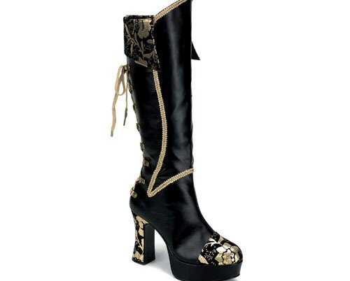 Black_and_gold_boots_womens_lace_up_boots_knee_pirate_boots