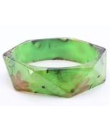 Bangle green flower lucite square bracelet cost... - $10.88