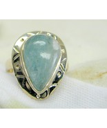 Natural Sea Green Aquamarine Teardrop cabochon ... - $118.08