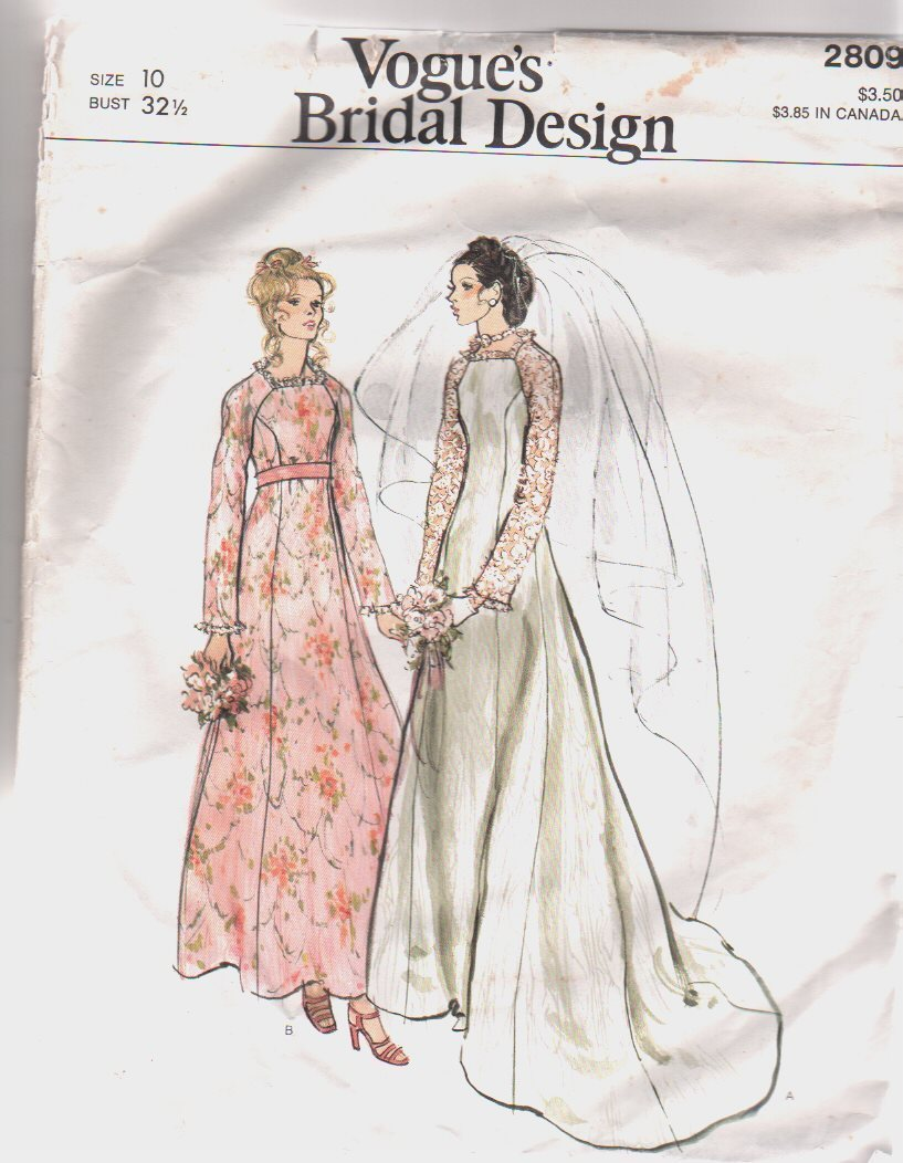 Vint VOGUE Bridal Design Pattern, Sz 10 WEDDING DRESS