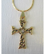 Celtic Cross Goldtone Necklace with Gold Plated... - $10.00