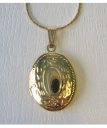 Gold Plated Two Photo Oval Locket with Gold Pla... - $10.00