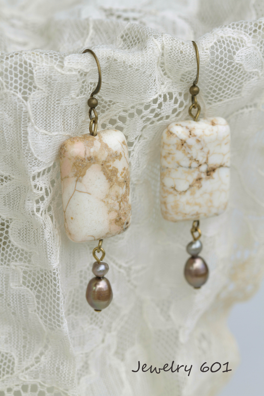 White Turquoise Earrings~
