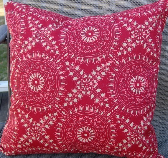 Beautiful Indoor Outdoor Red/Tan pillow
