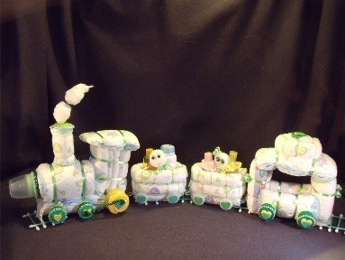 Green Train Diaper Cake Baby Shower Gift Centerpiece