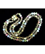 Vintage Opalescent Pastel Glass Bead Necklace R... - $34.00