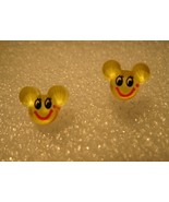 EARRINGS CHILDS MOUSE FACE COLOR: YELLOW PIERCE... - $5.99