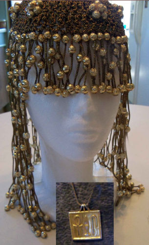 lot necklace Beaded Headpiece EGYPTIAN CleopatraFlapper FRINGE HANDMADE Crochet