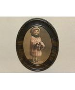 Photo Darling Child Oval Frame Tin Vintage - $9.99