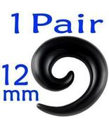 1/2 inch 12mm Black Acrylic Spiral Ear Plugs Lo... - $8.00