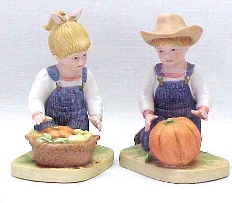 Homco denim days 1985 boy girl figurines home interior Home interiors denim das