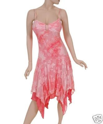 Spring Pink Floral Cut Out Rhinestone Gypsy Dress  Medium