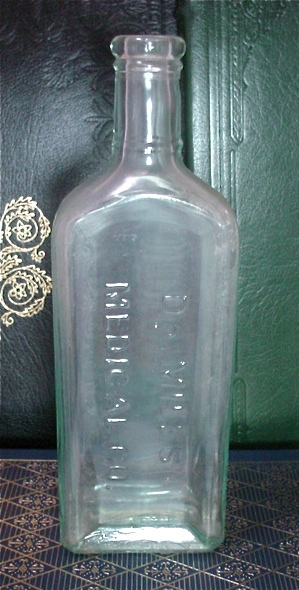 Antique Medicine Bottle Dr Miles Medical Co. Large Green Glass Steampunk Staging