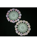 Ecru Doily with Pansy Flower Trim Hand Crochet Set of Two - $10.01