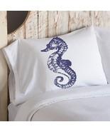 Navy Blue Sea Horse White Nautical Pillowcase c... - $11.99