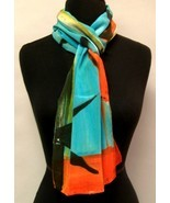 Hand Painted Silk Scarf Wrap Turquoise Green Re... - $85.00