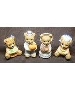 Homco Porcelain Pilgrim Teddy Bear Family Set o... - $7.99