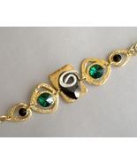 Chunky Bracelet Black Emerald Semi Precious Sto... - $246.00