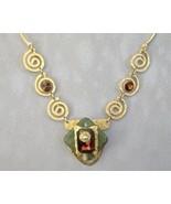 Amber Green Necklace Semi Prescious Stone Swaro... - $445.00