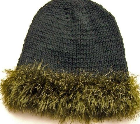 Green Handknit Hat with Gold & green Fun Fur Trim - Blue Ridge Mtns - Bonanzle