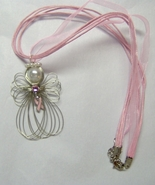 Pink Ribbon Breast Cancer Awareness Angel Neckl... - $11.00