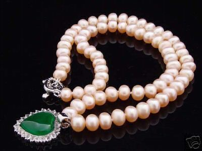 Genuine cultured 7 8mm pink pearl necklace 17   green heart jade pendant