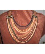 Multi-Strand Drape Coconut Shell Bead Necklace - $30.00