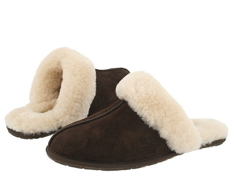 UGG Australia SCUFFETTE Brown Espresso Shearling Logo Slippers Shoes 5 36 6 37