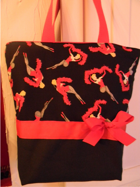 SALE Red   Black Can Can Burlesque Dancer BAG Purse  Tote