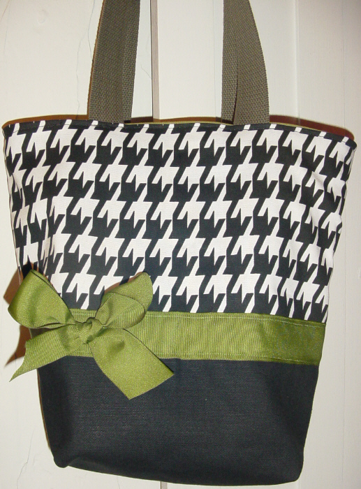 SALE Black   White houndstooth OLIVE BAG Purse  Tote