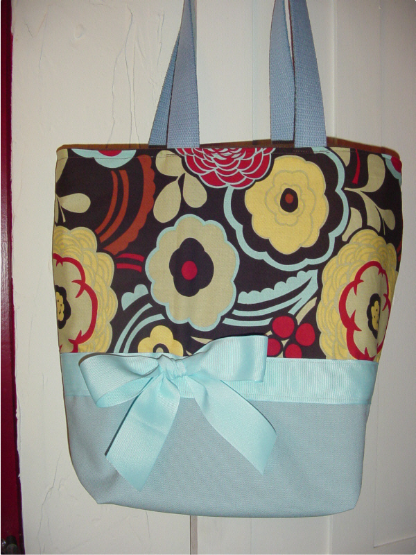 SALE Blue Funky Retro Cleo Floral BAG Purse Tote