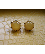 Men vintage yellow round dark metal cufflinks p... - $14.99