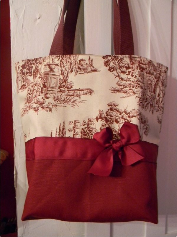 Classic Burgundy Wine European Toile BAG Purse -Tote