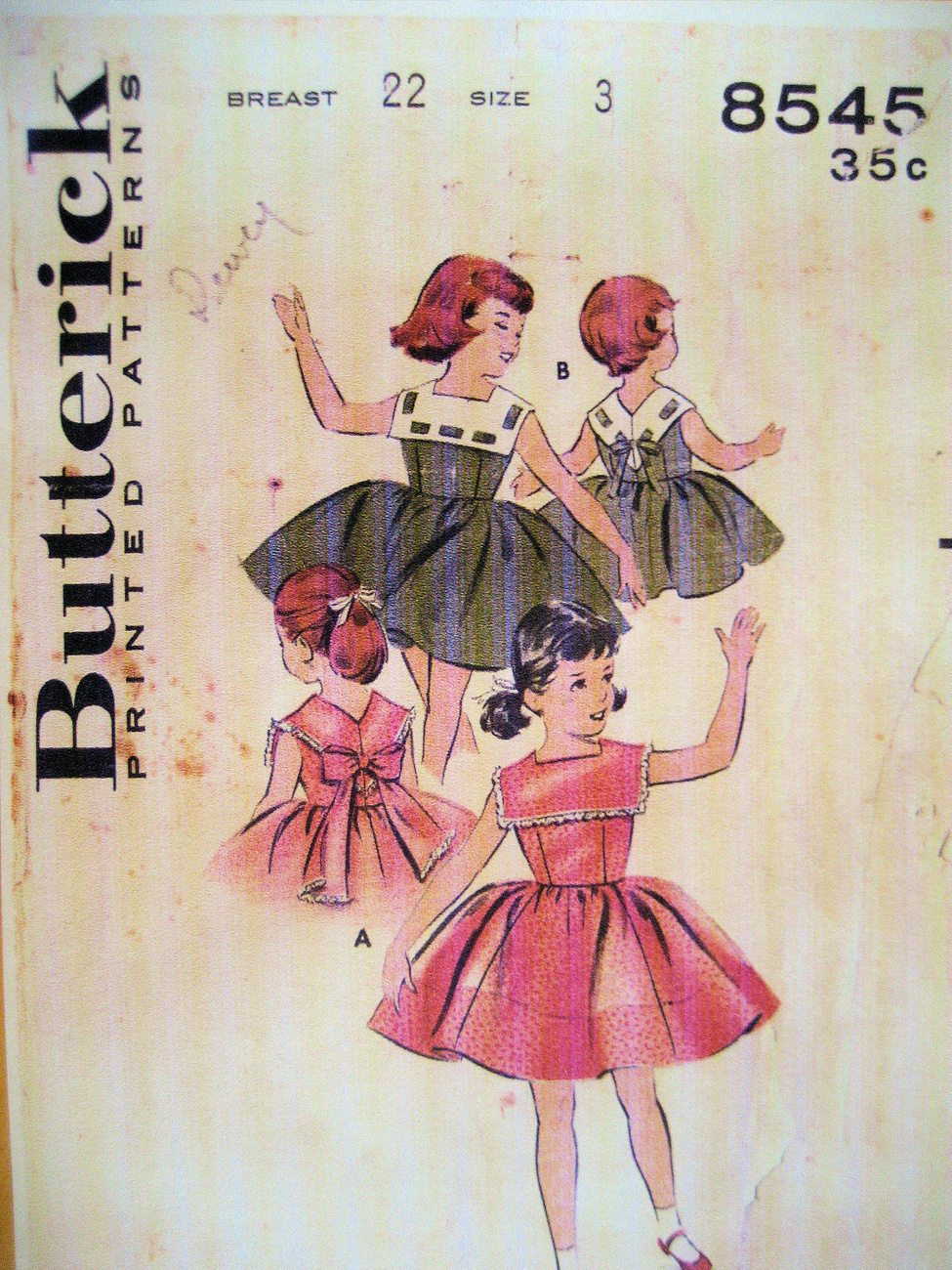 Butterick  8545 Vintage 40s Pattern Girls 3 Flower Girl