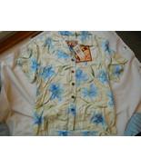 Ladies Caribbean Joe Shirt Blouse Blue flowers ... - $16.99
