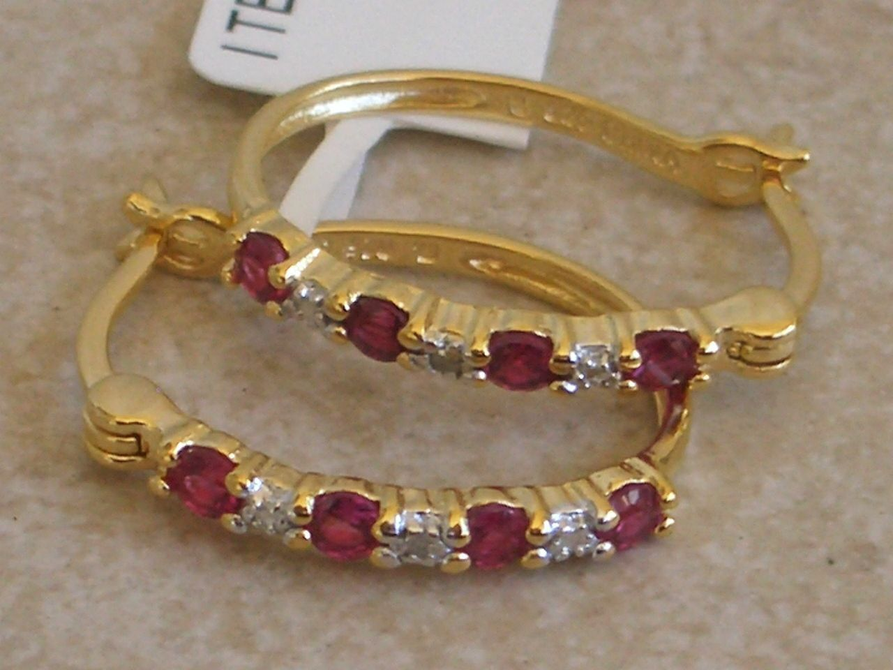 18k Gold Sterling Silver Ruby Diamond Hoop Earrings 