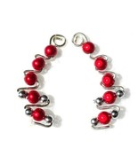 Red & Silver Plated Ear Wrap Cuffs Earring Pins  - $12.95